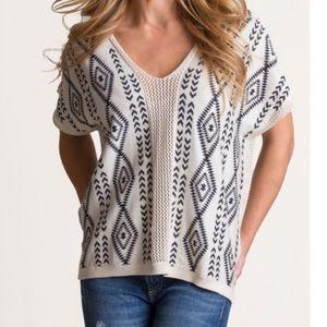 Sweaters - Overland Pima cotton poncho with crochet trim